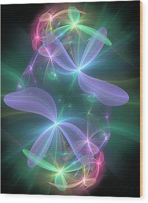 Wood Print featuring the digital art Ethereal Flower In Violet by Svetlana Nikolova