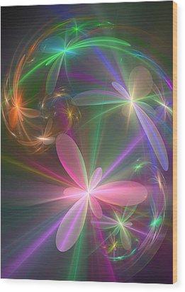 Wood Print featuring the digital art Ethereal Flowers Dancing by Svetlana Nikolova