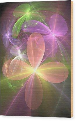 Wood Print featuring the digital art Ethereal Flowers by Svetlana Nikolova