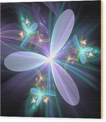 Wood Print featuring the digital art Ethereal Petals by Svetlana Nikolova