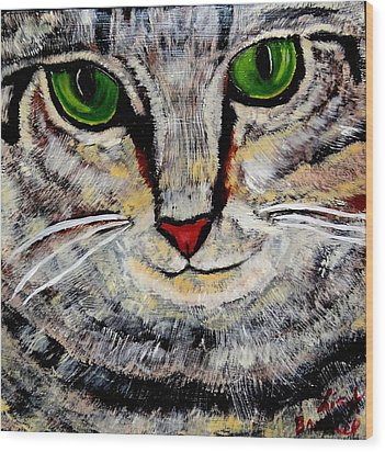 Ethical Kitty See's Your Dilemma Wood Print by Lisa Brandel