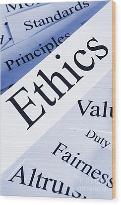 Ethics Concept Wood Print by Colin and Linda McKie