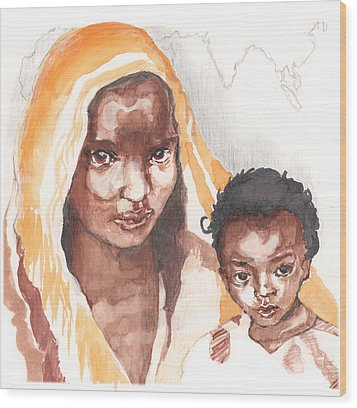 Ethiopean Mother And Child Wood Print by Nancy Watson