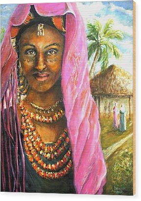 Wood Print featuring the painting Ethiopia Bride by Bernadette Krupa
