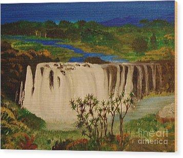 Ethiopian Nile Waterfall Wood Print by Brigitte Emme