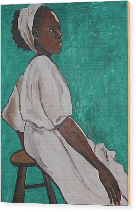 Ethiopian Woman In Green Wood Print by Esther Newman-Cohen