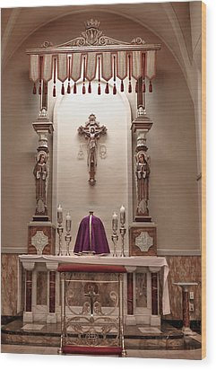 Wood Print featuring the photograph Eucharistic Altar by Cecil Fuselier