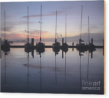 Eureka Harbor At Sunset Wood Print by Laura  Wong-Rose