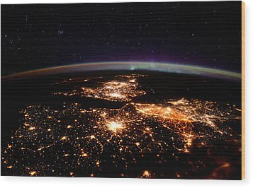 Wood Print featuring the photograph Europe At Night, Satellite View by Science Source