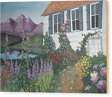 Wood Print featuring the painting European Flower Garden by Norm Starks