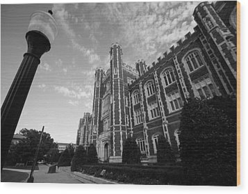 Evans Hall In Black And White Wood Print by Nathan Hillis