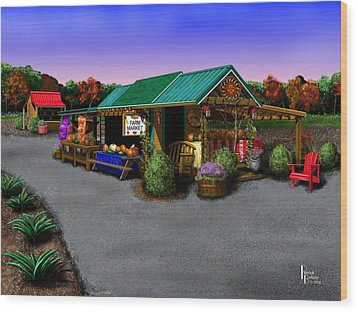 Eva's Farm Market Wood Print by Patrick Belote