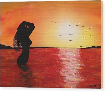 Wood Print featuring the painting EVE by Michael Rucker