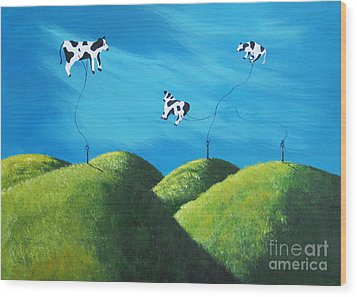 Even Cows Have Strange Dreams By Shawna Erback Art Wood Print by Shawna Erback