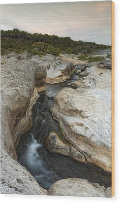 Even Flow At The Pedernales Texas Hill Country Wood Print by Silvio Ligutti