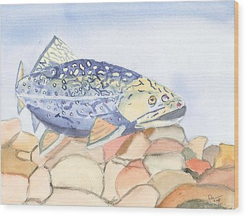 Even Troutbums Get The Blues Wood Print by David Crowell