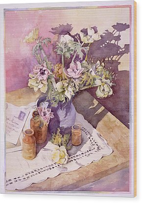 Evening Anemones Wood Print by Julia Rowntree