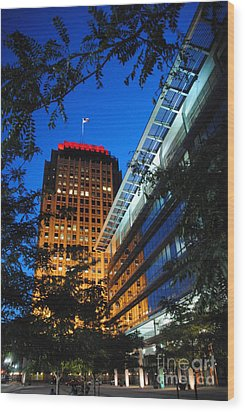 Evening At Ppl Plaza - Allentown Pa  Vertical Wood Print