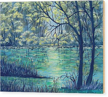 Wood Print featuring the painting Evening At The Bayou by Suzanne Theis