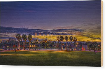 Evening At The Park Wood Print by Marvin Spates