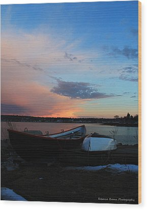 Evening At The Shore Wood Print by Becca Brann