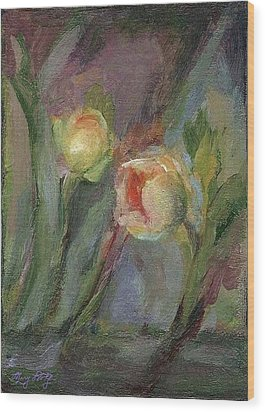 Wood Print featuring the painting Evening Bloom by Mary Wolf