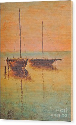 Evening Boats Wood Print