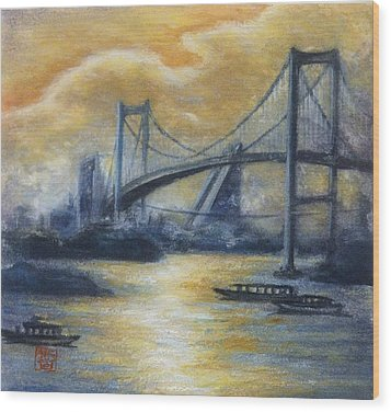 Evening Bridge Wood Print by Tomoko Koyama