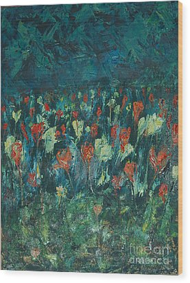 Wood Print featuring the painting Evening Buds by Mini Arora