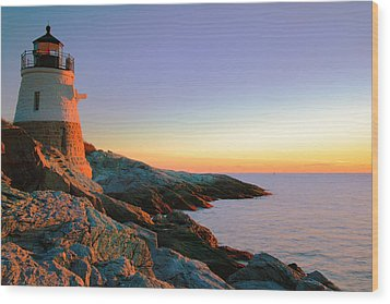 Evening Calm At Castle Hill Lighthouse Wood Print by Roupen  Baker