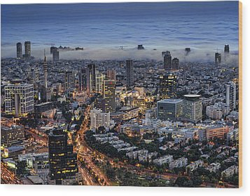Wood Print featuring the photograph Evening City Lights by Ron Shoshani