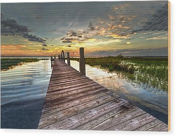 Evening Dock Wood Print by Debra and Dave Vanderlaan