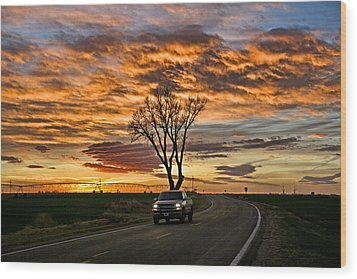 Wood Print featuring the photograph Evening Drive by Shirley Heier