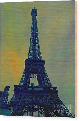 Evening Eiffel Tower Wood Print