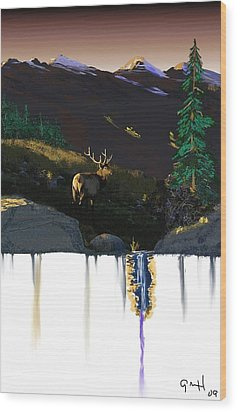 Evening Elk Wood Print by J Griff Griffin