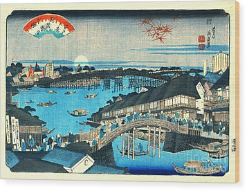 Evening Glow Ryogoku Bridge 1844 Wood Print by Padre Art