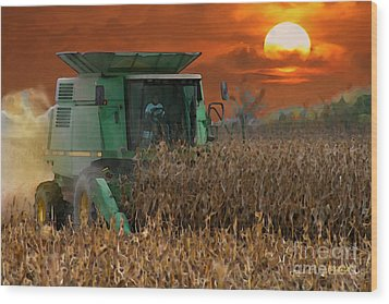 Evening Harvest Wood Print by E B Schmidt