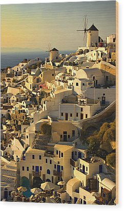 evening in Oia Wood Print by Meirion Matthias