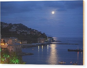 Evening In Rapallo Wood Print by Roberto Galli della Loggia