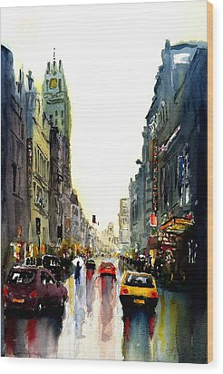 Wood Print featuring the painting Evening In The City by Steven Ponsford