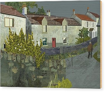 Evening In The Village. Wood Print by Kenneth North