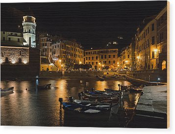 Wood Print featuring the photograph Evening In Vernazza - Cinque Terre Italy by Carl Amoth