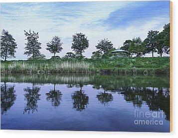 Evening Lake Wood Print by Svetlana Sewell