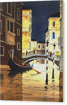 Wood Print featuring the painting Evening Lights - Venice by Bill Holkham