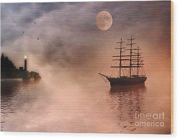 Evening Mists Wood Print by John Edwards