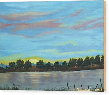 Evening On Ema River Wood Print