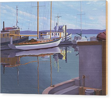 Wood Print featuring the painting Evening On Malaspina Strait by Gary Giacomelli