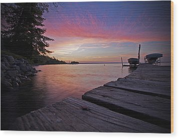 Evening On The Dock Wood Print