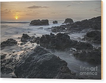 Evening On The Rocky Shore Wood Print