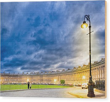 Evening On The Royal Crescent In Bath Wood Print by Mark E Tisdale